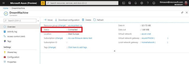Dream Machine Azure VPN Connection