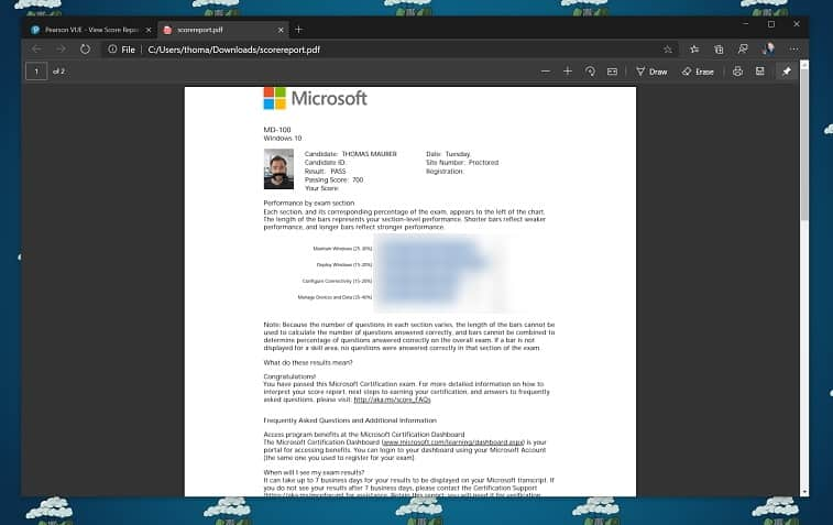 Passed Microsoft Online Exam Score Report
