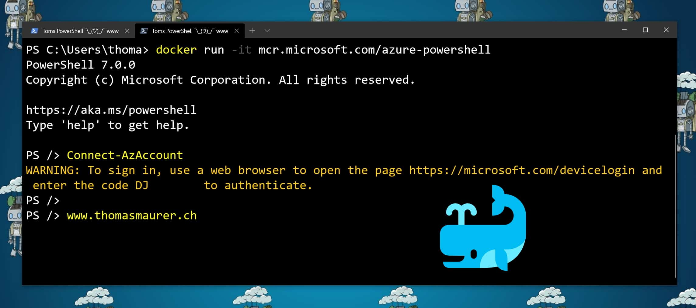 Run Azure PowerShell in a Docker Container Image