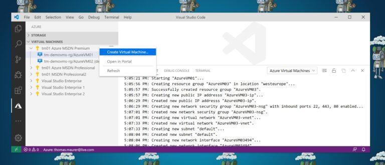 VS Code creating Azure Virtual Machines