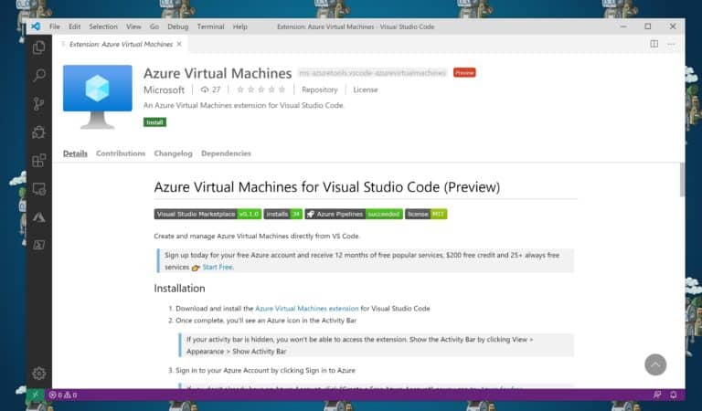 Visual Studio Code Azure Virtual Machines Extension