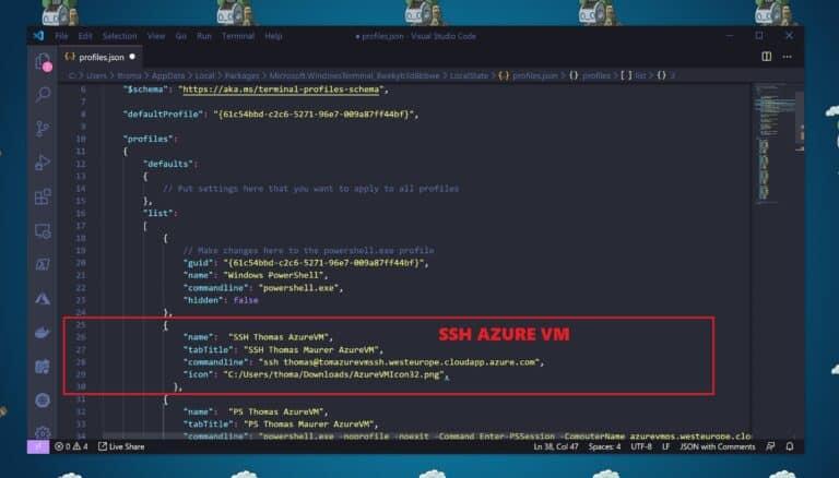 Windows Terminal Settings SSH Azure VM