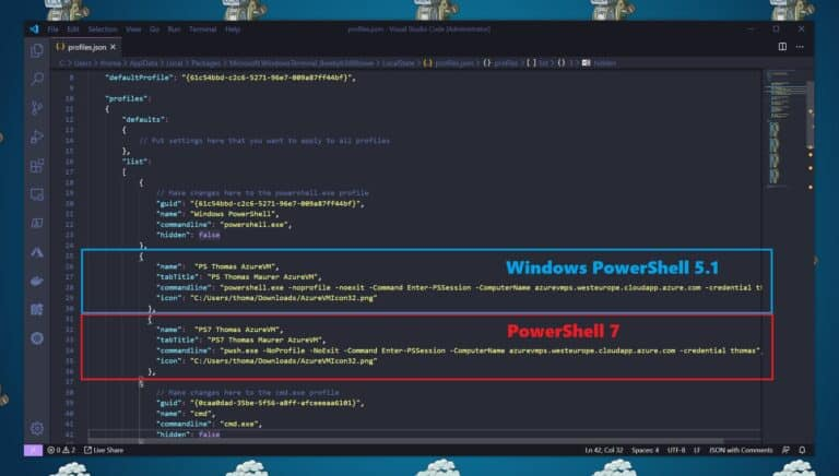 Windows Terminal Settings profiles