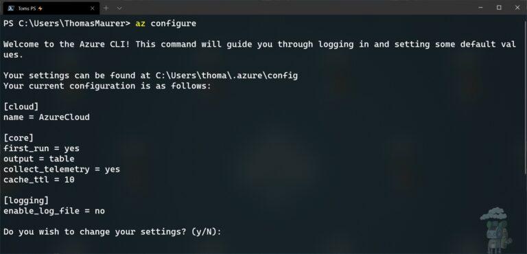 Azure CLI az configure