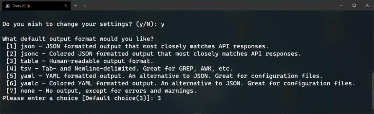 Azure CLI az configure default output