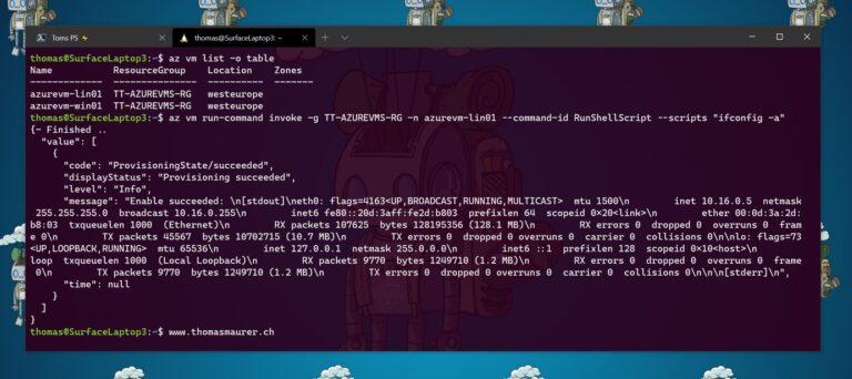 Azure CLI az vm run-command invoke