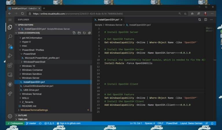 Edit PowerShell scripts remote online using Visual Studio Codespaces
