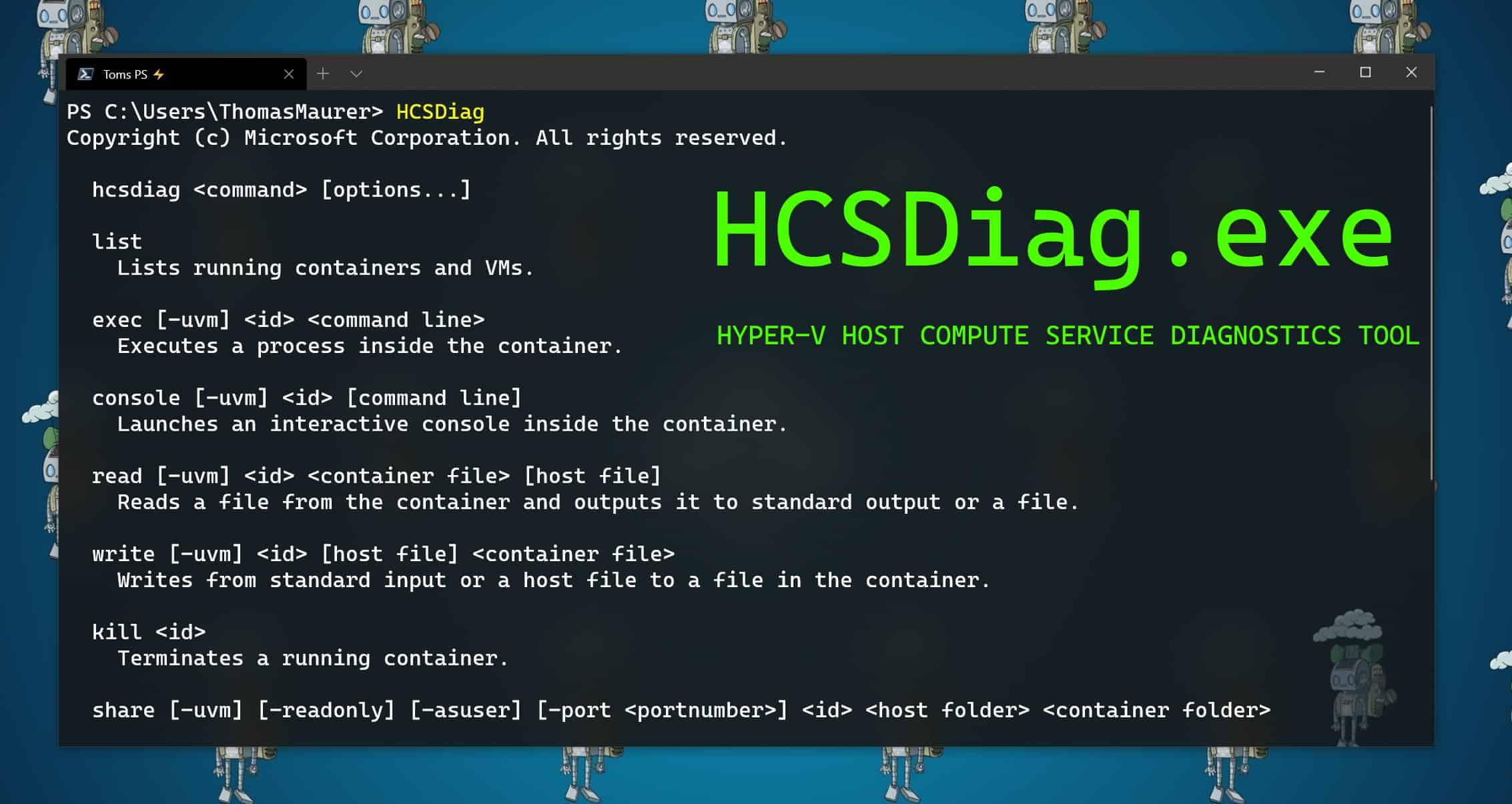 HCSDiag.exe - Hyper-V Host Compute Service Diagnostics Tool