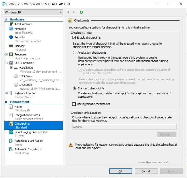 Hyper-V VM Checkpoint Types