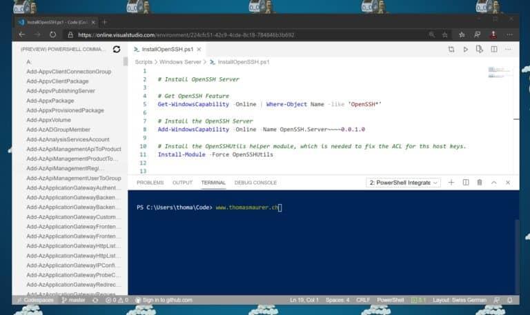 PowerShell ISE Mode Visual Studio Codespaces
