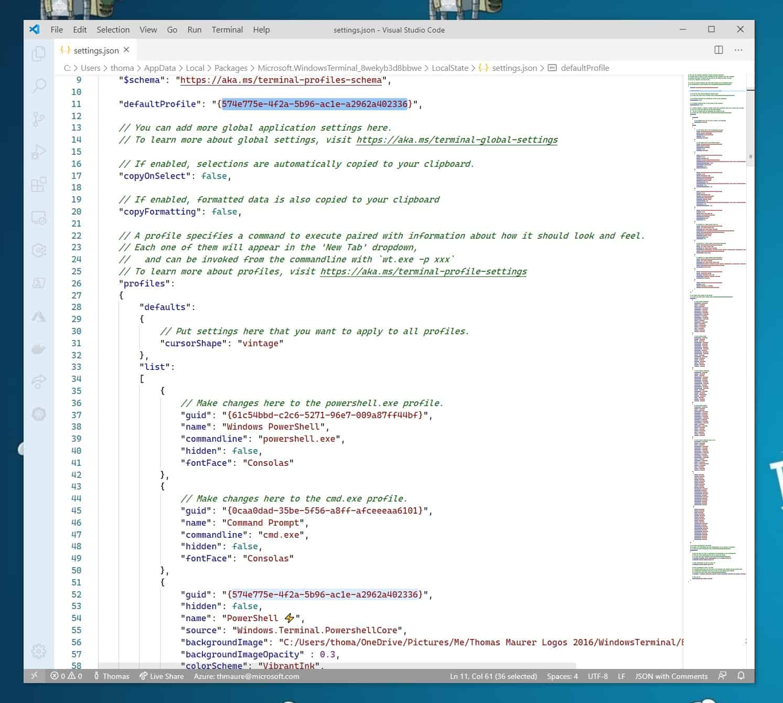 Windows Terminal Default Profile - Default Shell