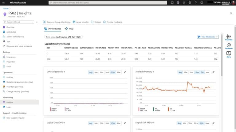 Azure Arc Server Insights Performance Monitor