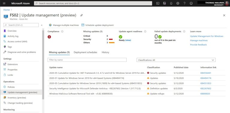 Azure Arc enabled Server Update Management