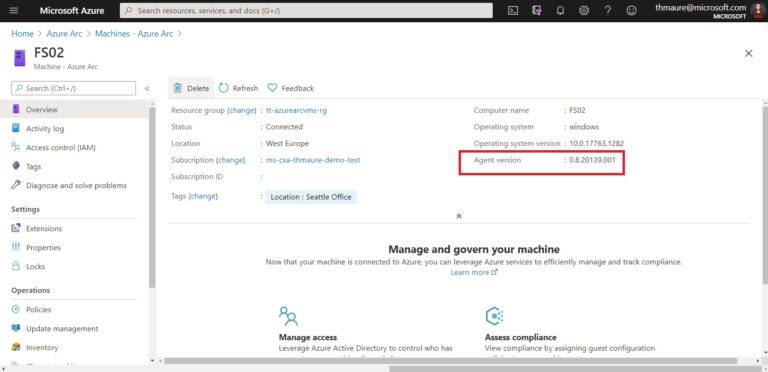 Azure Portal - Azure Arc Enabled Server