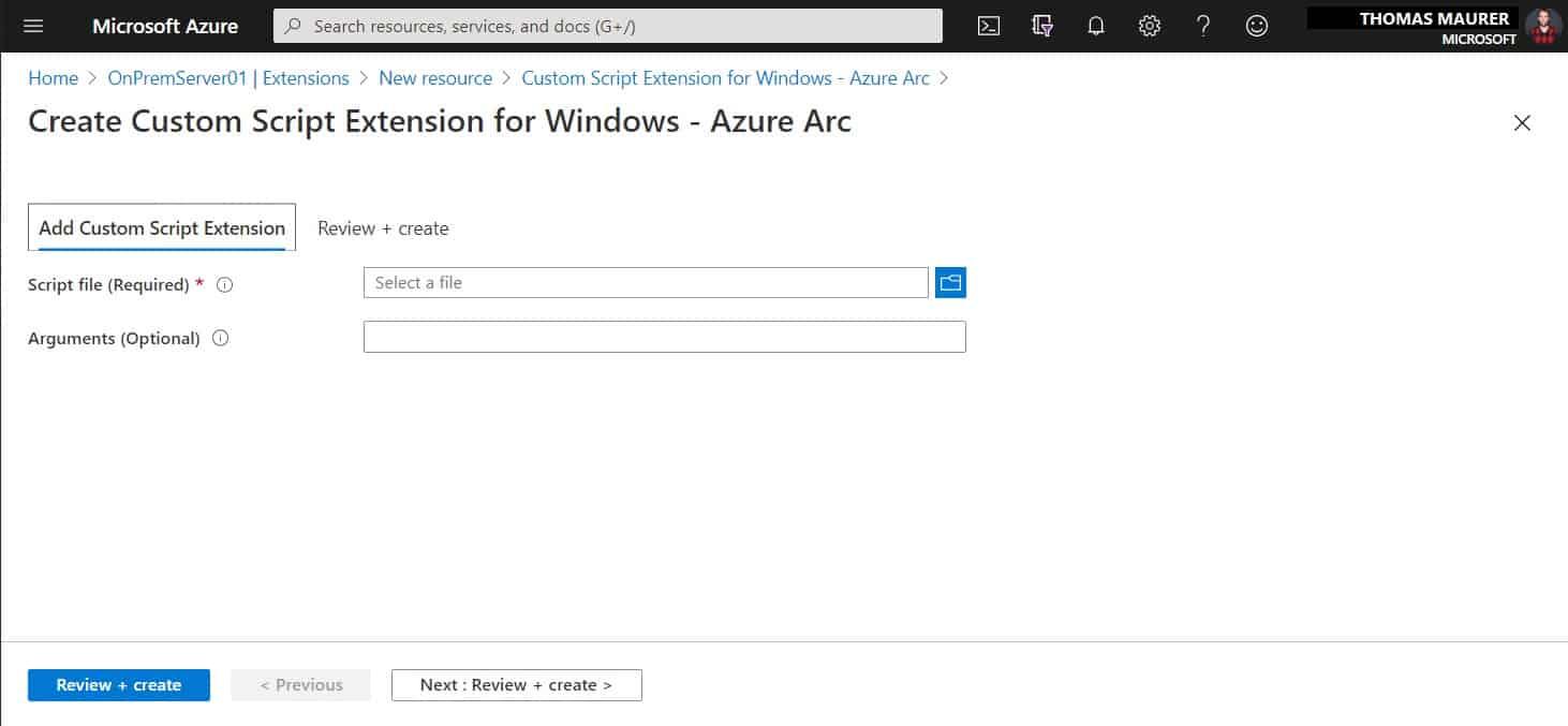 Create Custom Script Extension for Windows - Azure Arc