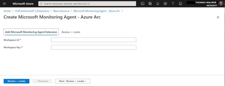 Create Microsoft Monitoring Agent - Azure Arc