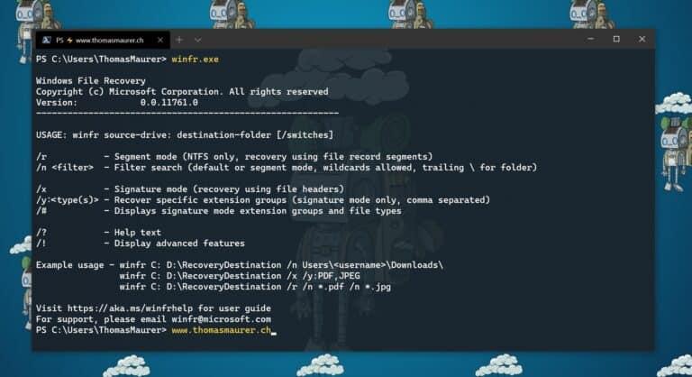Windows文件恢复工具WinFR