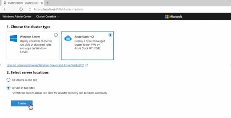Create two site Azure Stack HCI stretched cluster