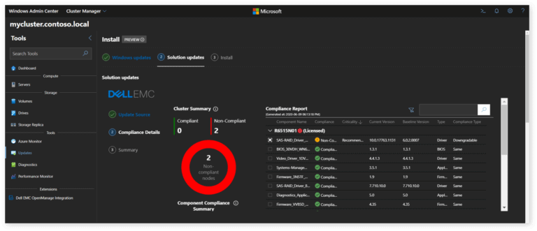 Screenshots shows working prototype snap-in extension by DellEMC