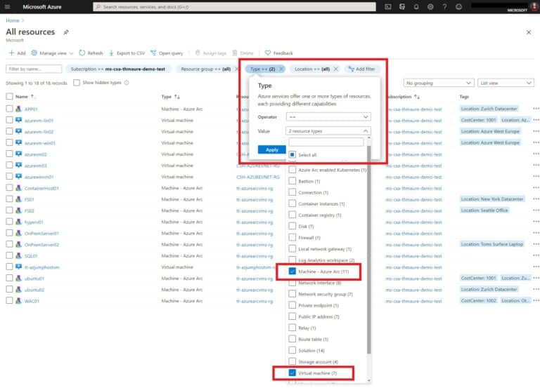 Filter for Azure VMs and Azure Arc Machines