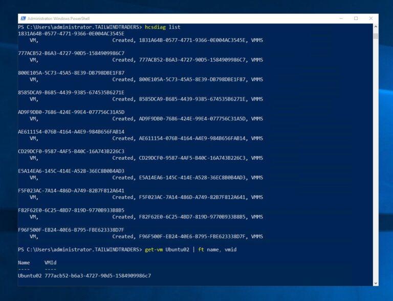Hyper-V Get-VM list VMiD