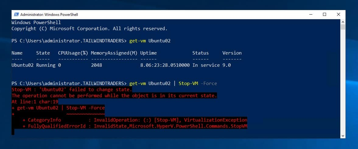 Hyper-V VM Stop-VM failed to change state