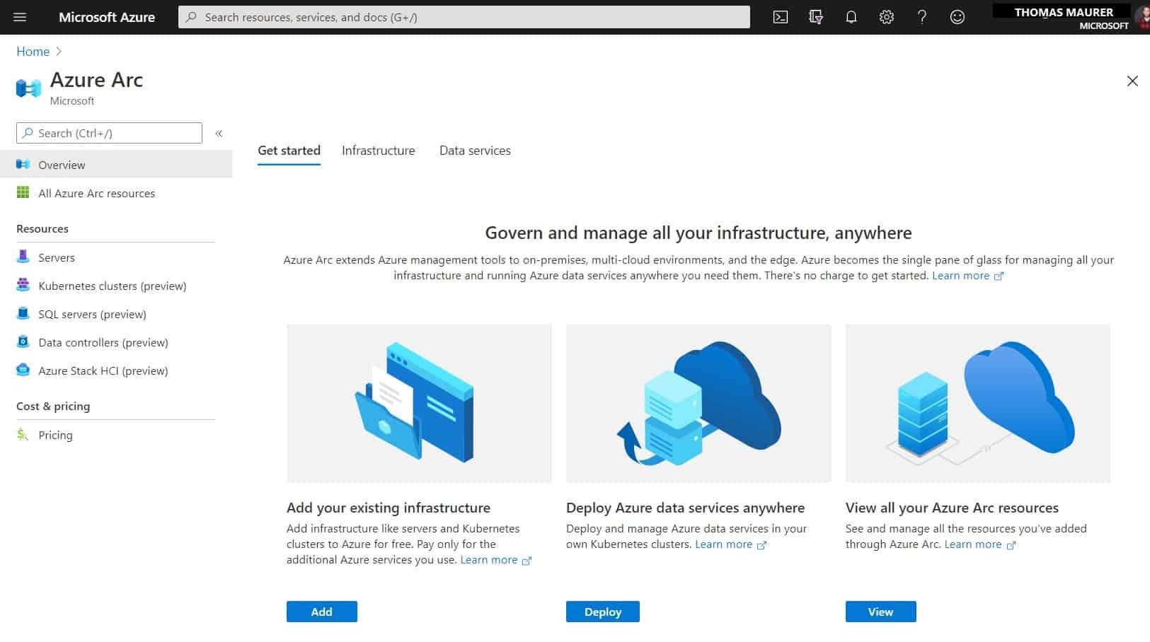 Azure Arc Center - Azure Portal