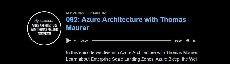 CloudSkills fm Podcast - Azure Architecture with Thomas Maurer