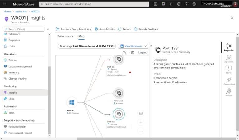 Azure Arc Enabled Server Monitoring and Insights Dependency Map