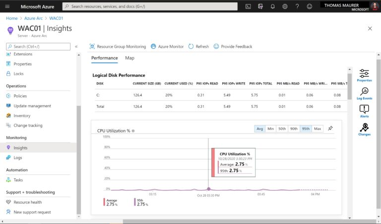 Azure Arc Enabled Server Performance Monitoring
