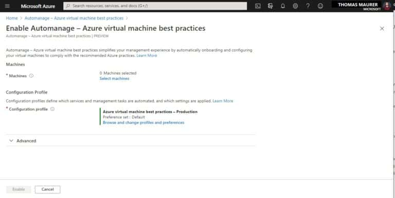 Enable Automanage - Azure virtual machine best practices