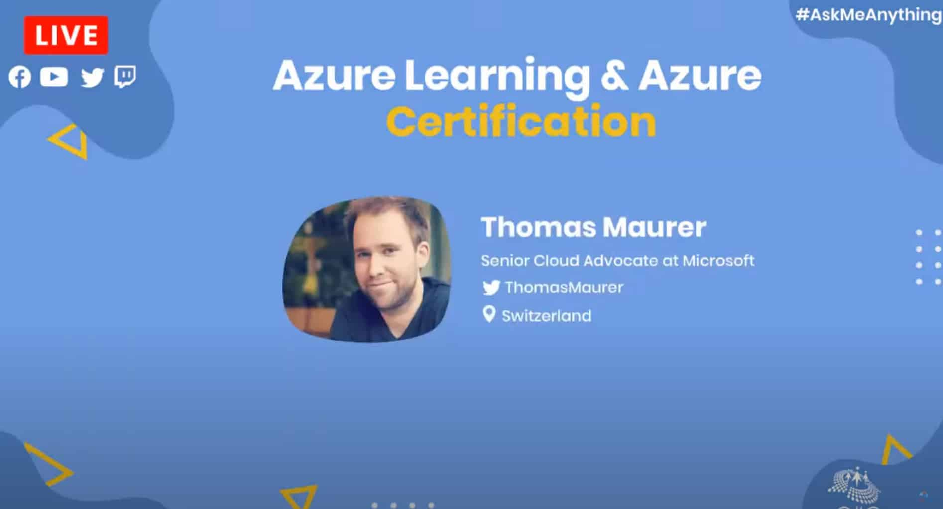 CSharp Corner Azure Learning and Azure Certification - AMA ft Thomas Maurer