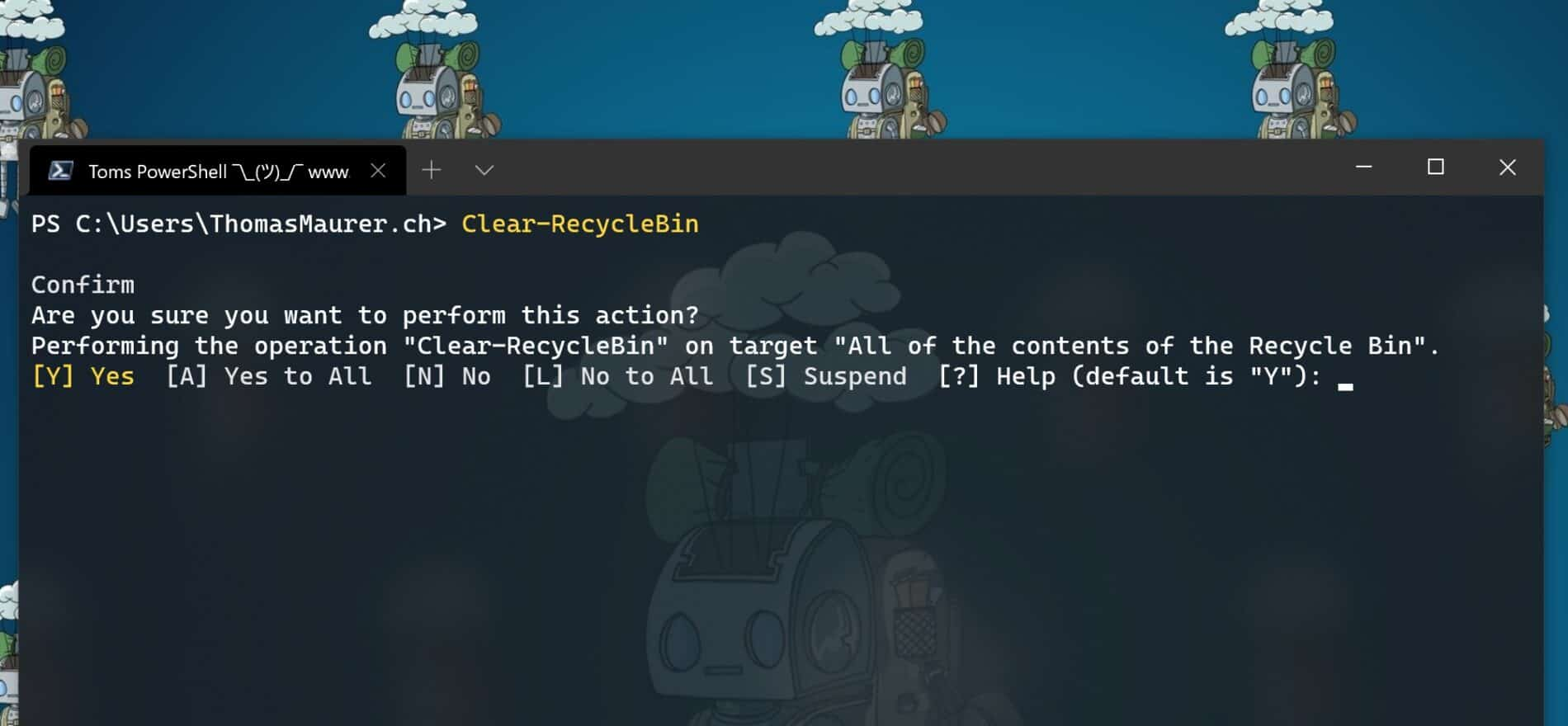 Empty Windows recycle bin with PowerShell
