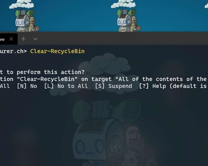 Empty Windows recycle bin with PowerShell