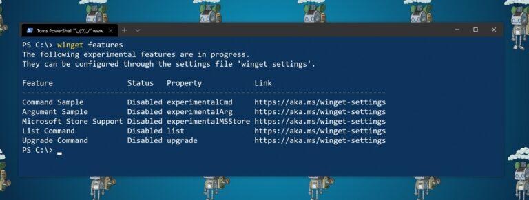 Screenshot Winget features