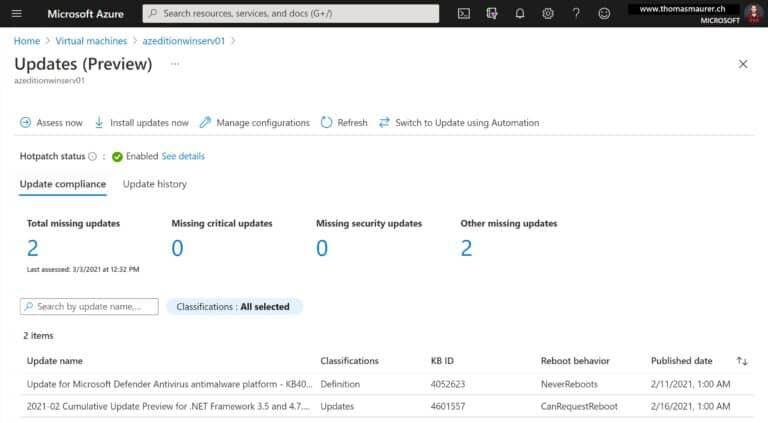 Azure VM Windows Server Hotpatch Update Overview