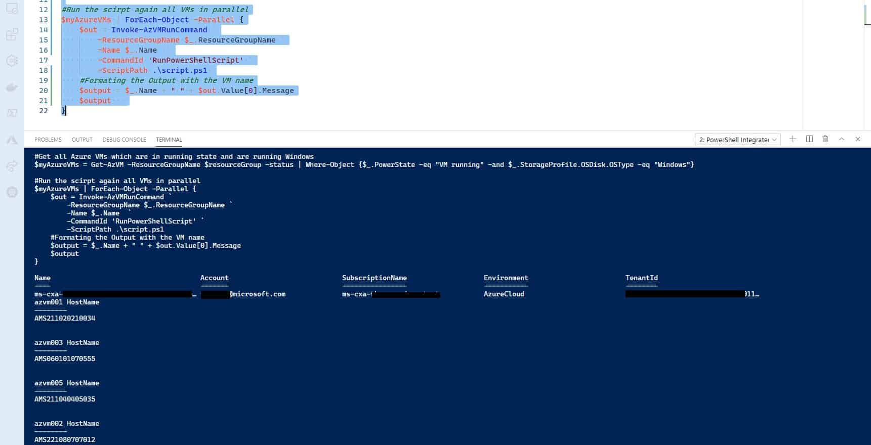 How to run PowerShell scripts against multiple Azure VMs in parallel by using Run Command