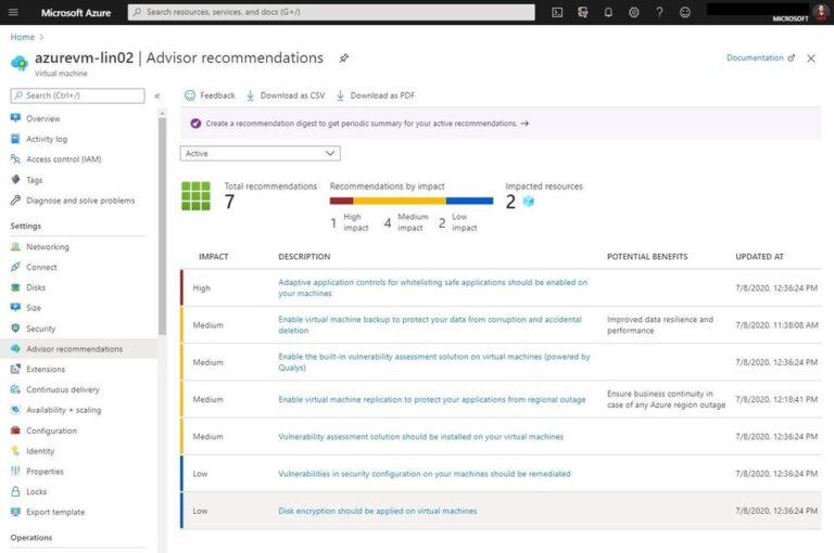 Azure Advisor recommendations for Azure VMs