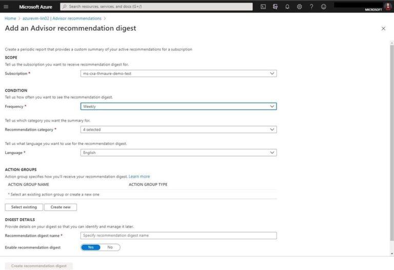 Azure Advisor recommendation digest