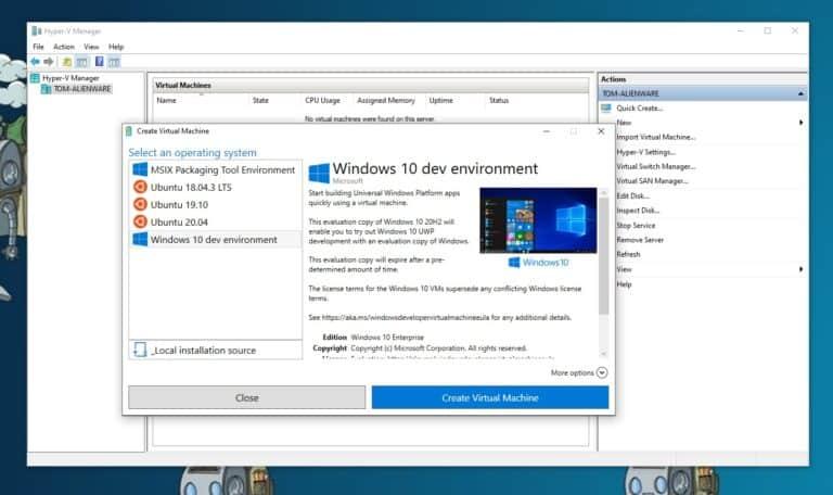 Create a Windows 10 development virtual machine