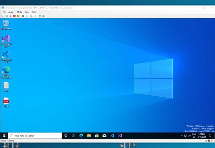 Windows 10 development virtual machine VM