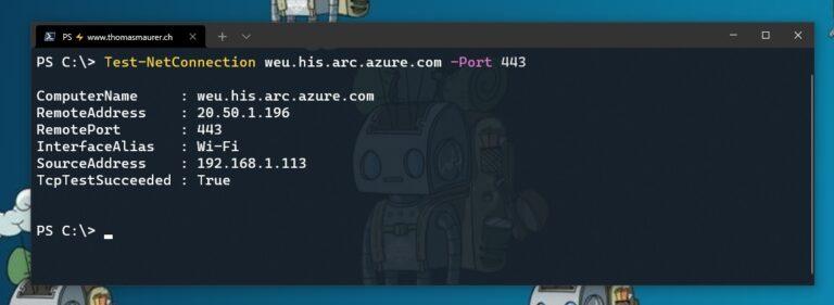 PowerShell Test-NetConnection Azure Arc API