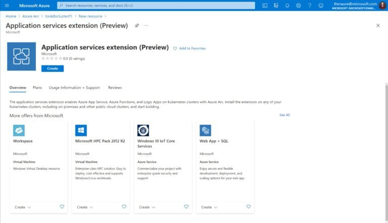 Application services extension Preview