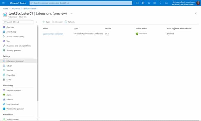 Azure Arc enabled Kubernetes Cluster Extensions