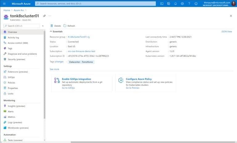 Azure Arc enabled Kubernetes Cluster running on-premises