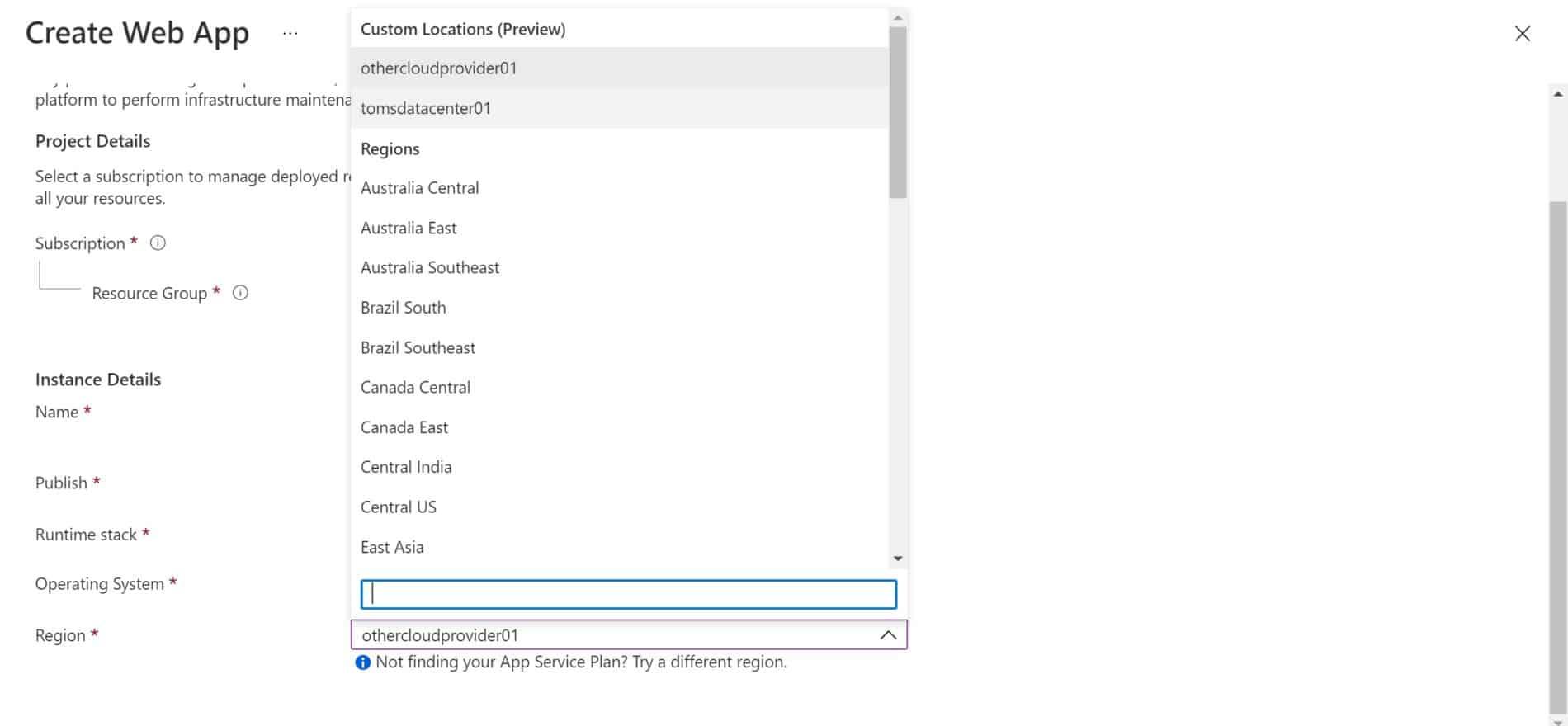 Azure Regions and custom locations