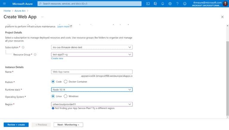 Create App Service and select a custom location