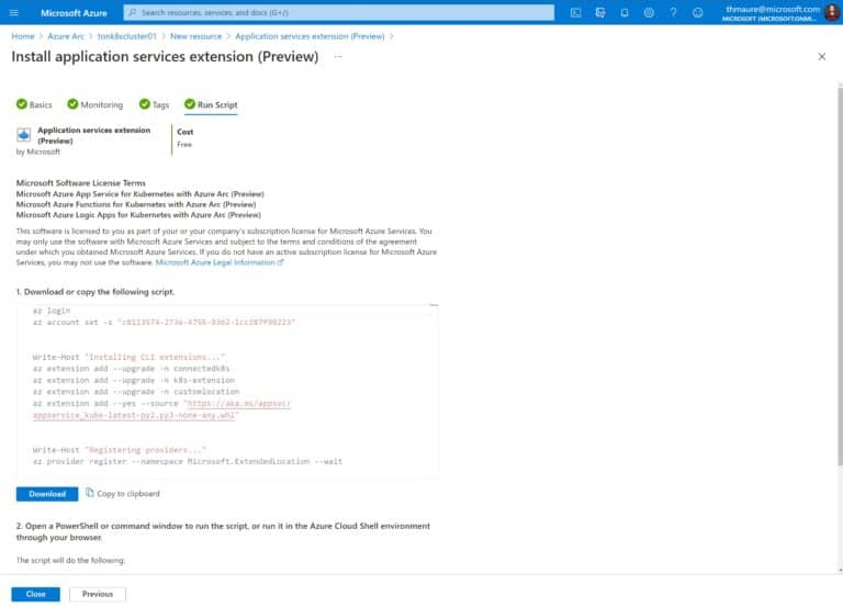 Download or Copy script to deploy the Azure App Service for Kubernetes with Azure Arc