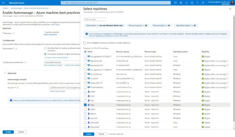 Azure Automanage Azure Arc enabled Servers