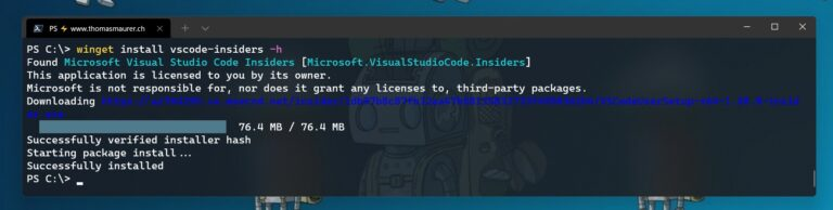 Install an application using Windows Package Manager WinGet